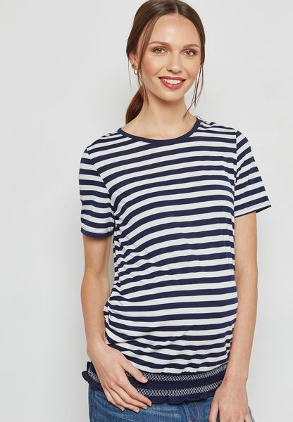 Maternity Striped Detail Top