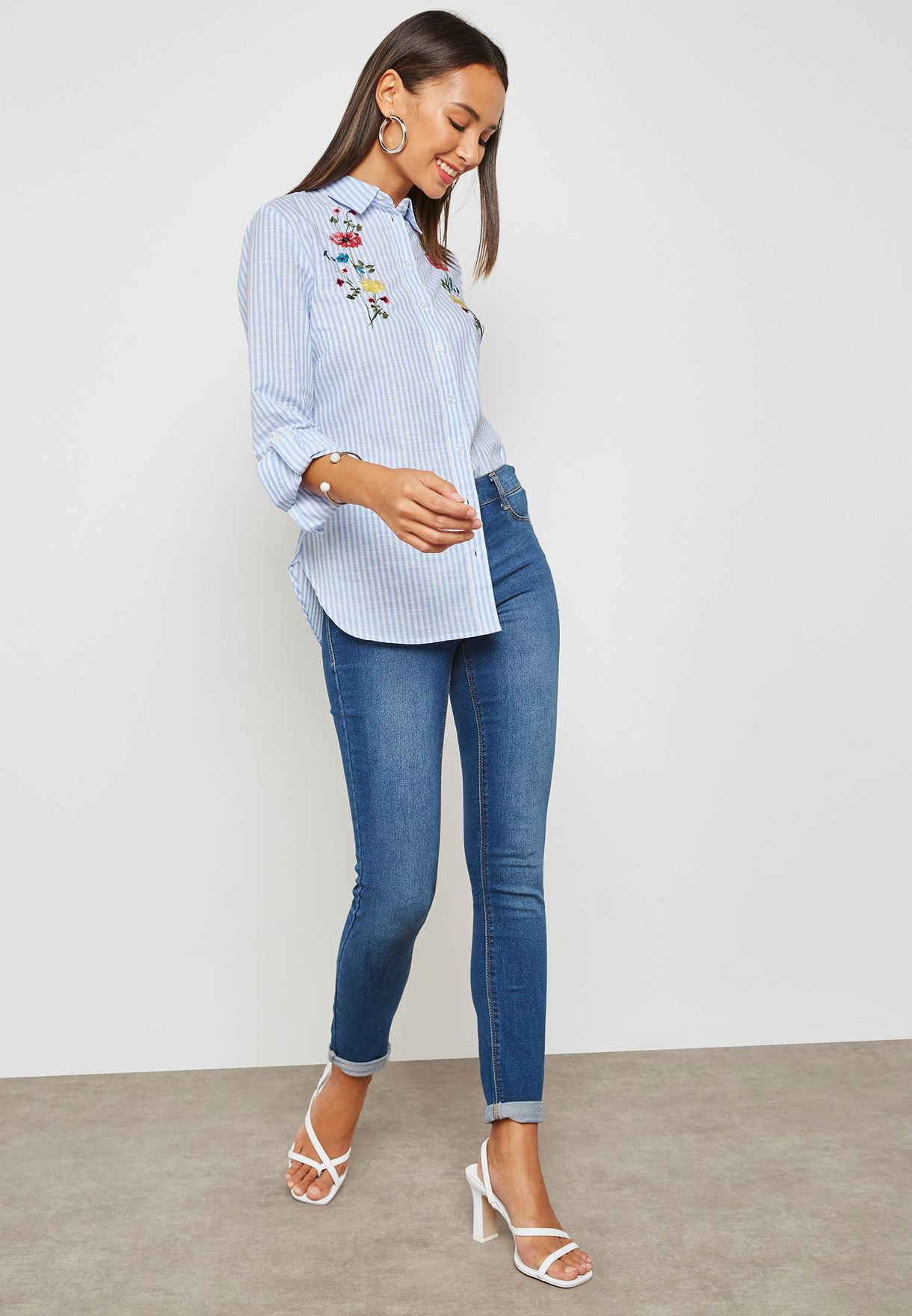 Floral Embroidered Striped Shirt