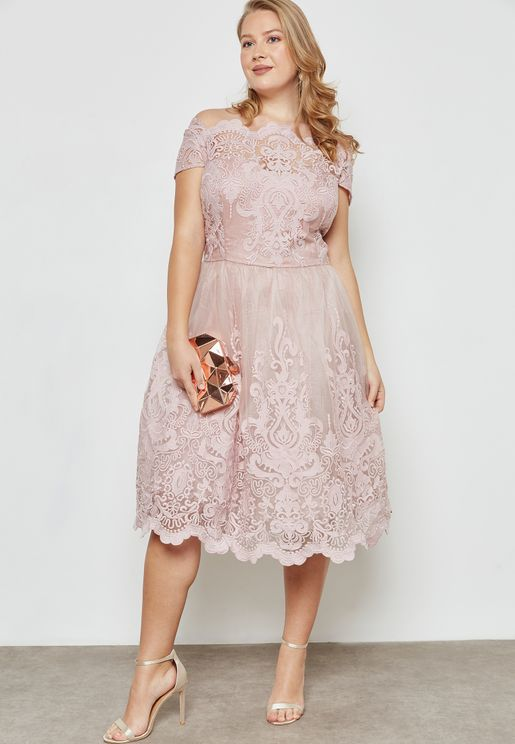 Lace Scallop Detail Dress