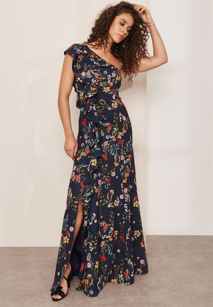 Floral Ruffle Detail One Shoulder Maxi Dress