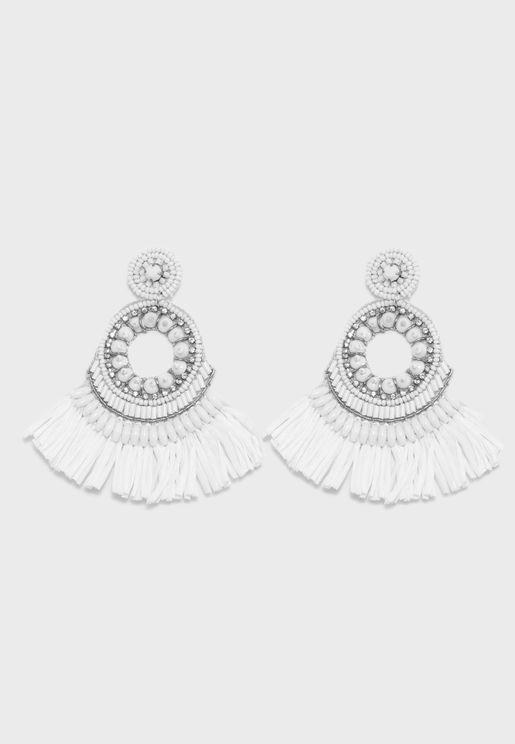 Raffia Tassel Disc Earrings