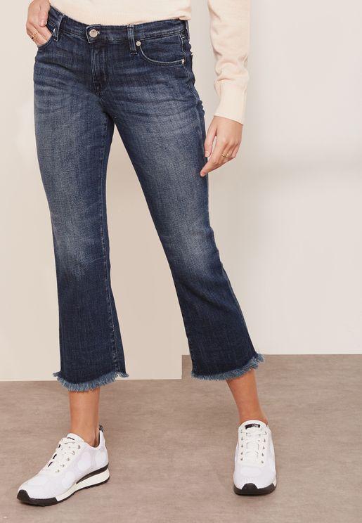 Logo Pocket Cropped Raw Hem Jeans