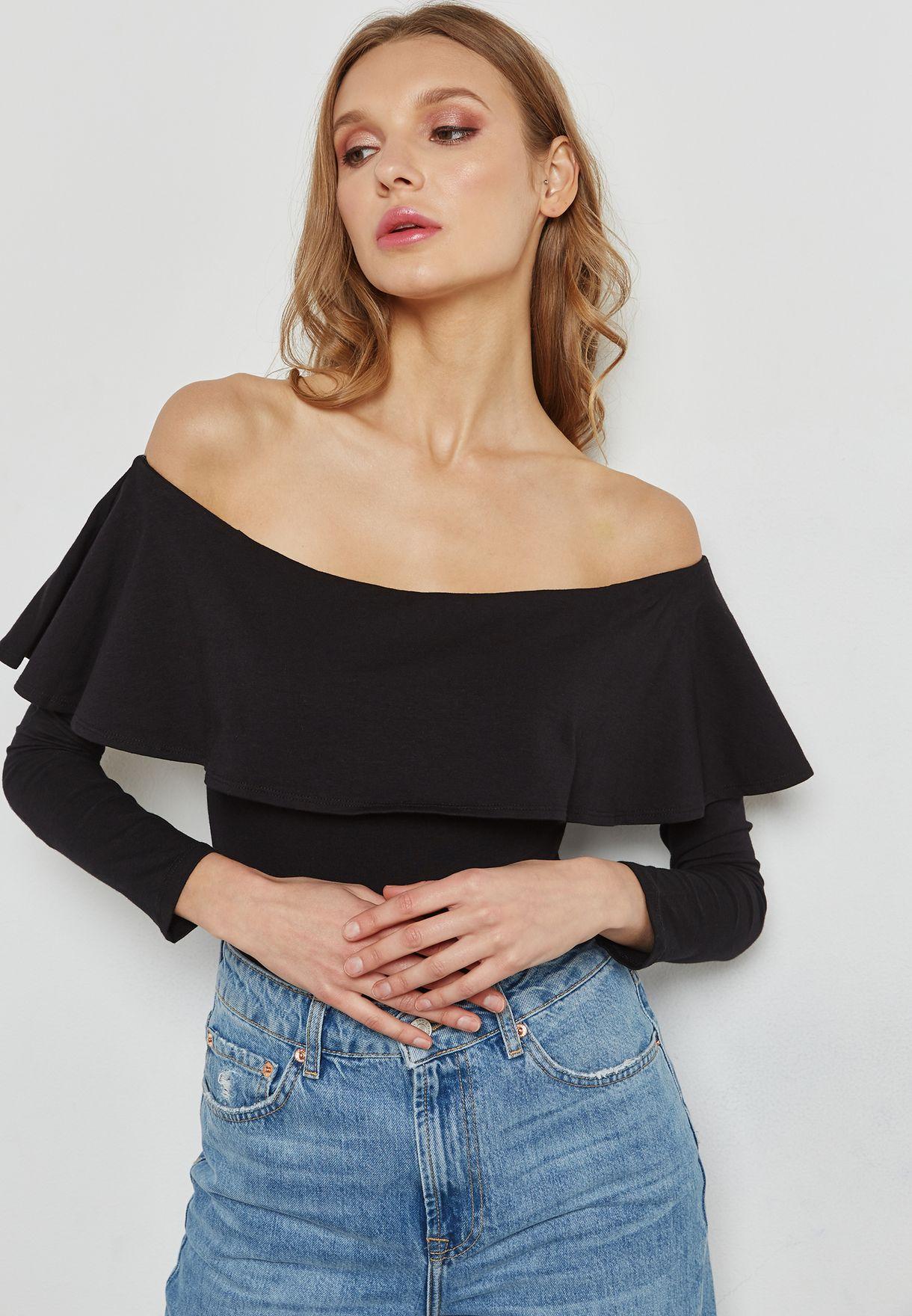 759f17fa15 Shop Forever 21 black Ruffle Bardot Body 224270 for Women in Qatar ...