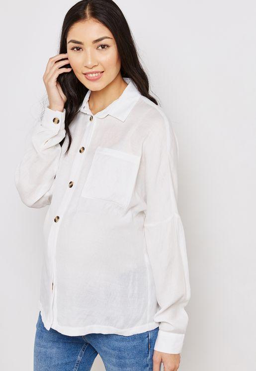 قميص كلاسيكي بأكمام مطوية