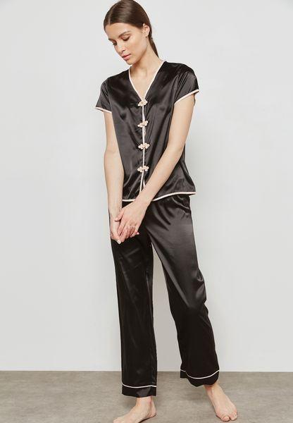 Contrast Button Detail Pyjama Set