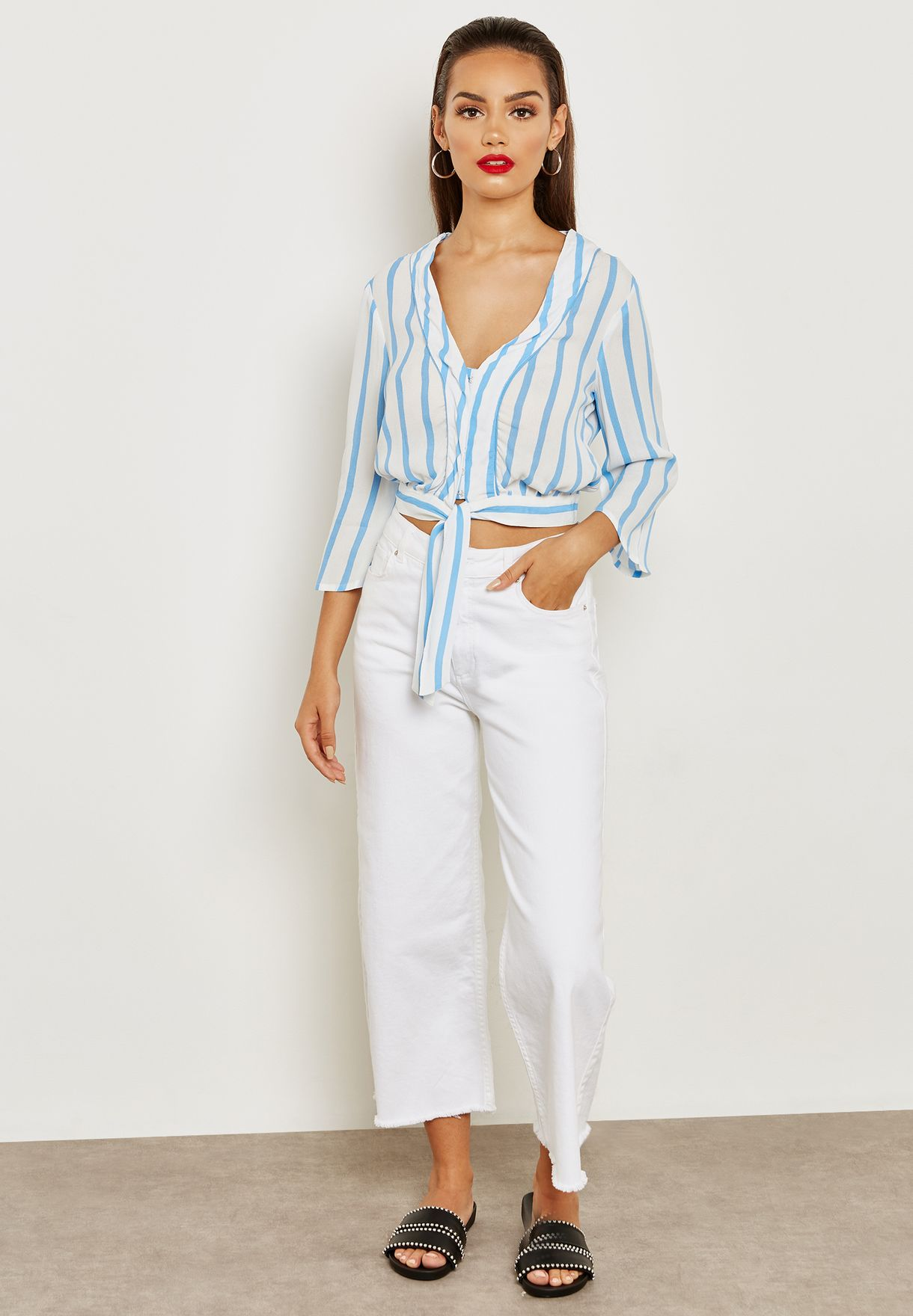 Long Sleeve Front Tie Striped Plunge Top