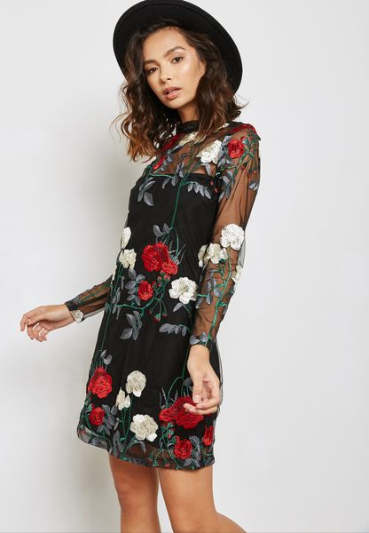 Mesh Embroidered Overlay Dress