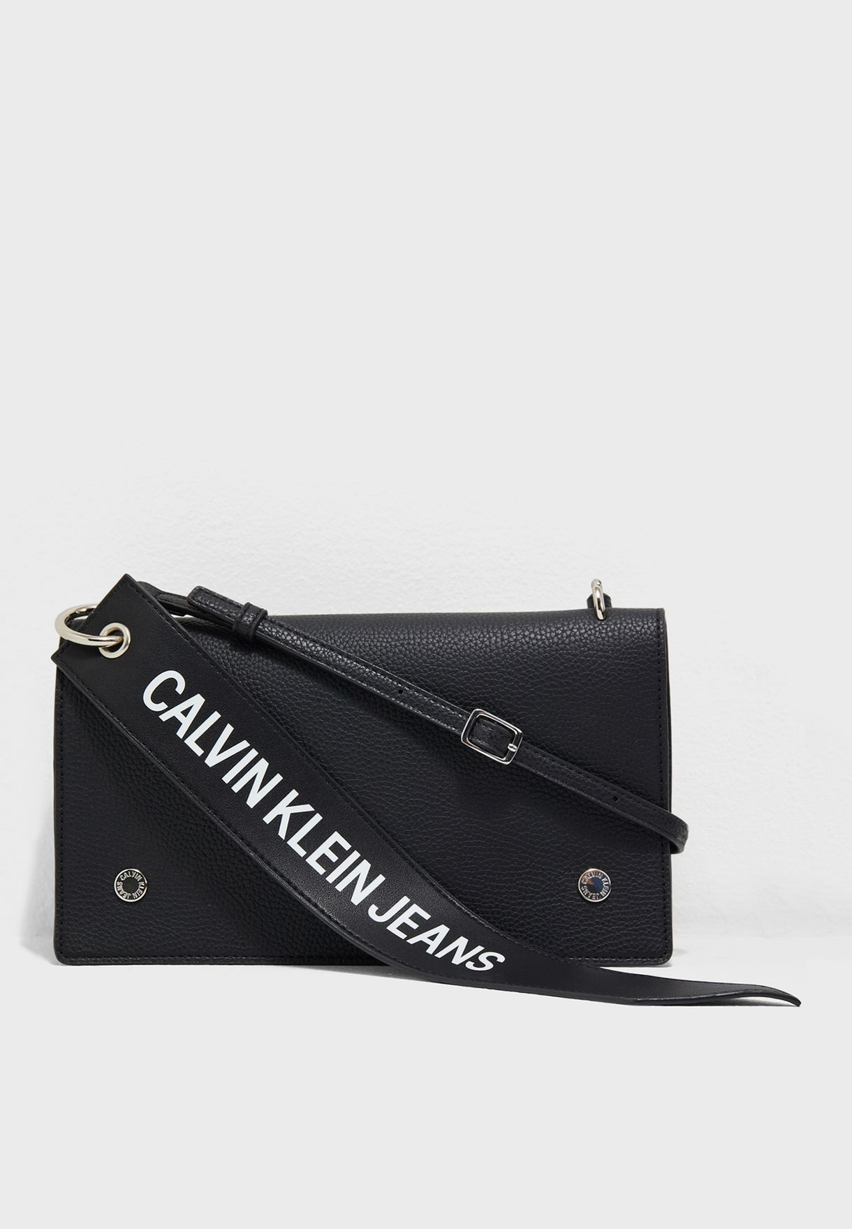 cb671727198 Shop Calvin Klein Jeans black Logo Banner Flap Crossbody K40K400823 ...