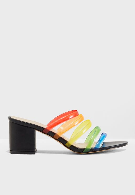 Marnie Rainbow Straps Heeled Mule
