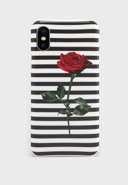 Striped Rose iPhone X Case