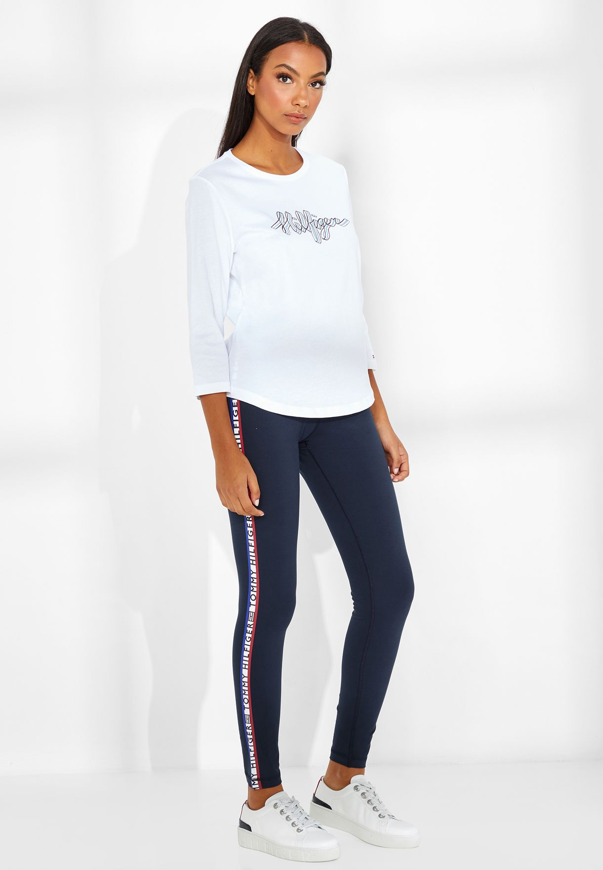 ca22a7ccf88 Shop Tommy Hilfiger navy Logo Tape Leggings WW0WW24813 for Women in ...