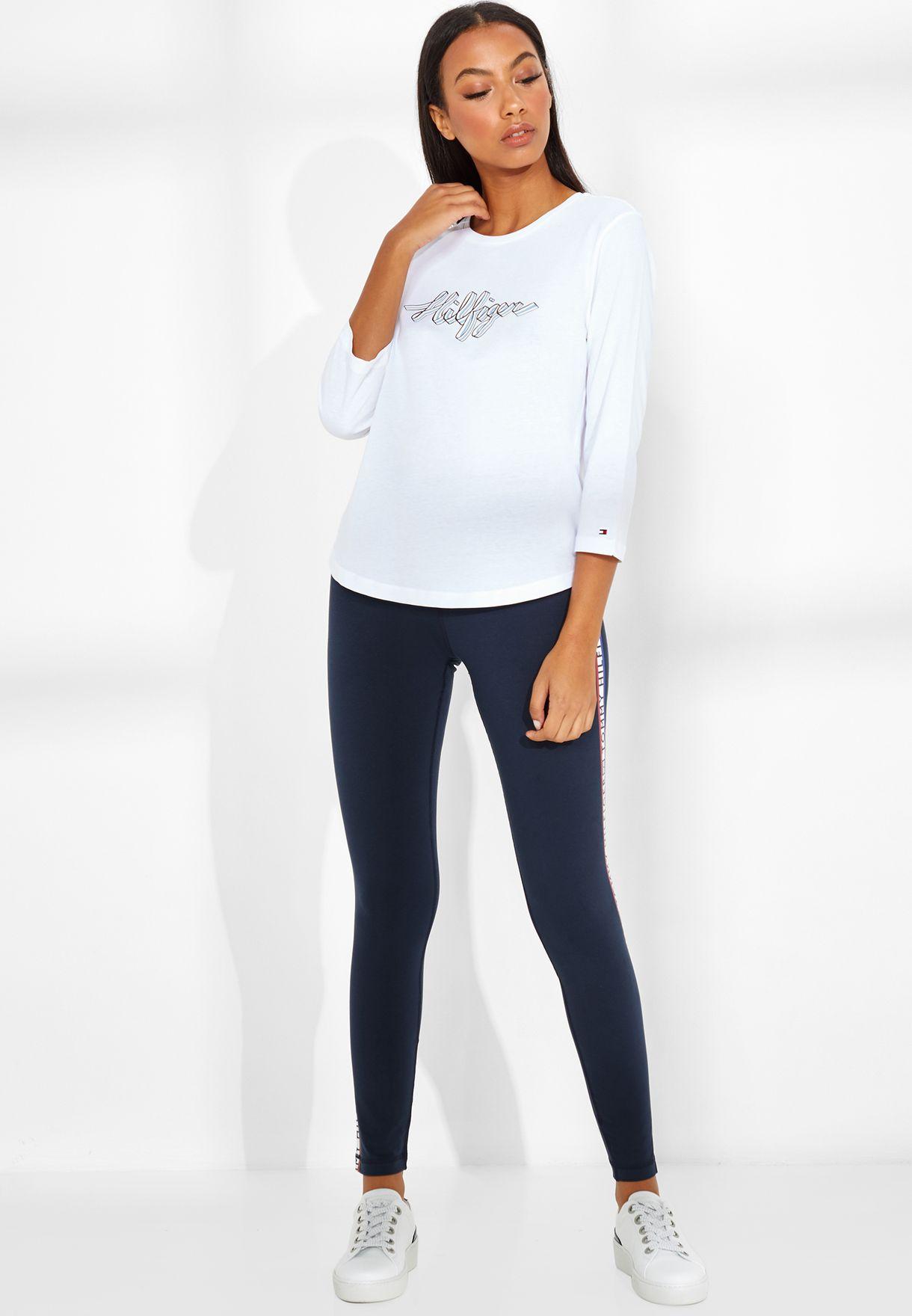 1607a2dc Shop Tommy Hilfiger navy Logo Tape Leggings WW0WW24813 for Women in ...