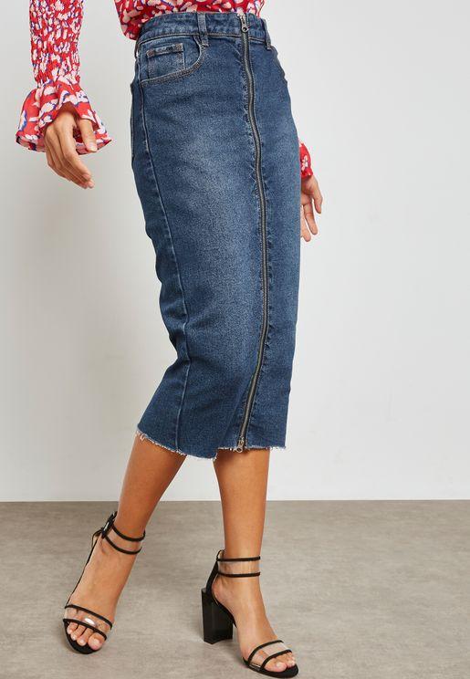 Denim Midi Pencil Skirt with Split