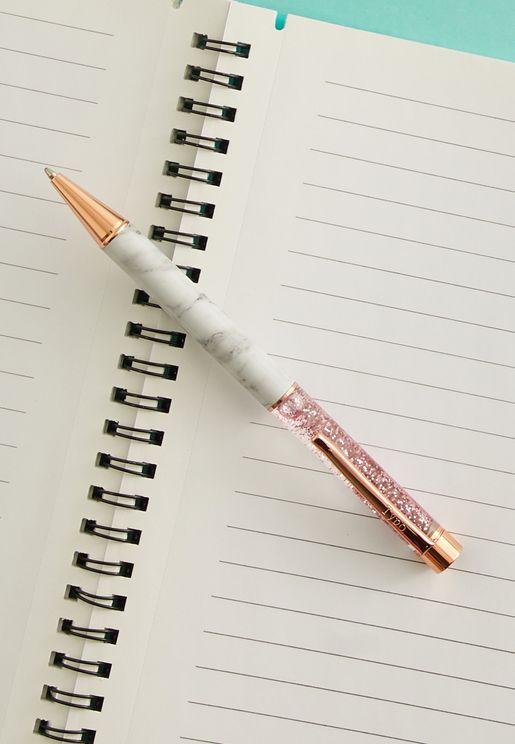 قلم حبر جاف مزين بذرات لامعة