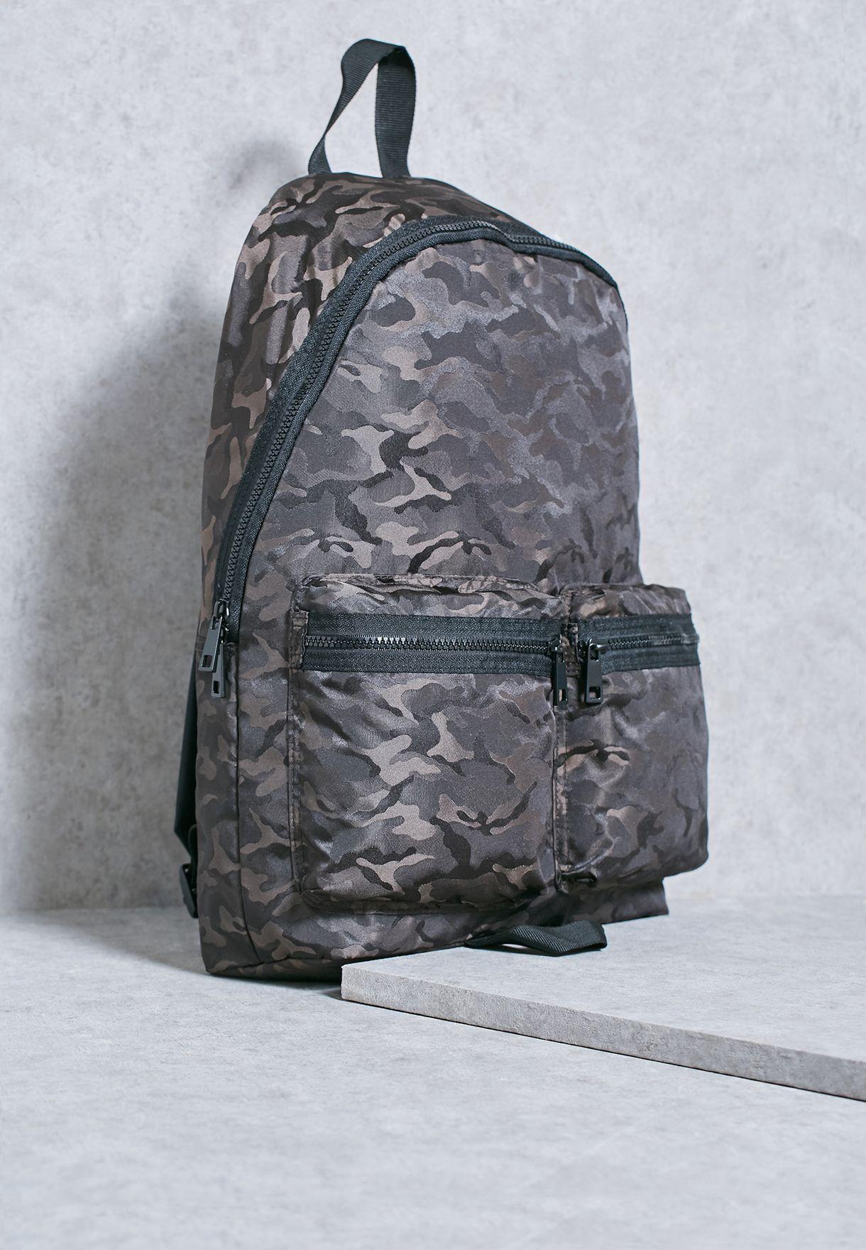 b09acf4e6719 Shop Topman grey Camo Backpack 56T27NMUL for Men in Qatar - TO857AC32UAL