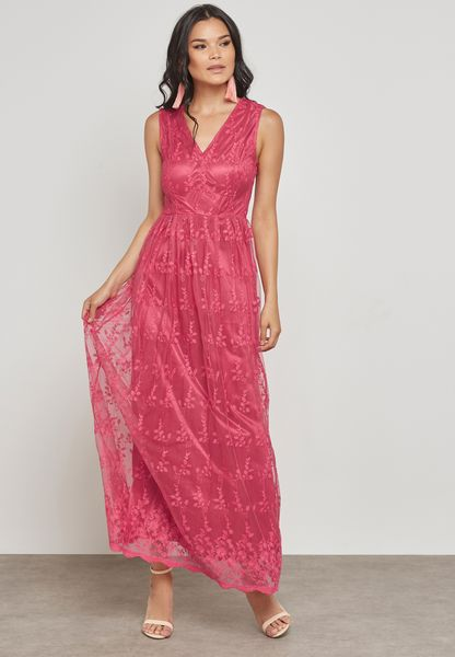 Embroidered Mesh Layered Dress