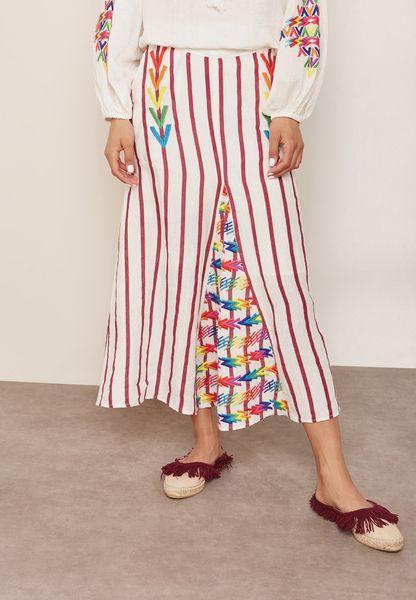 Embroidered Front Slit Striped Skirt