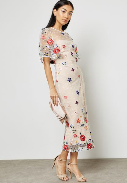 Embroidered Printed Dress
