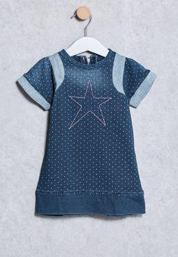 Infant Printed Denim Dress
