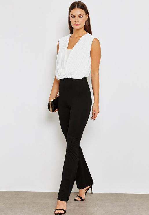 Contrast Wrap Front Pleated Top Jumpsuit