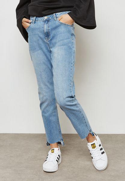 Mid Wash Crop Jeans