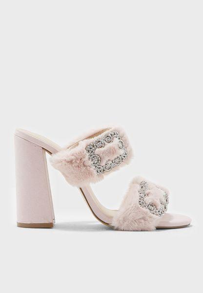 Faux Fur and Buckle Trim Sandal