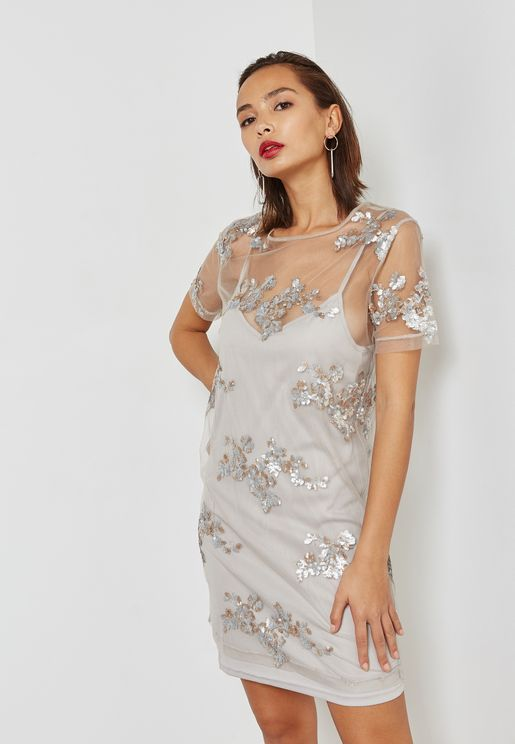 Sequin Patch Mesh Overlay Dress