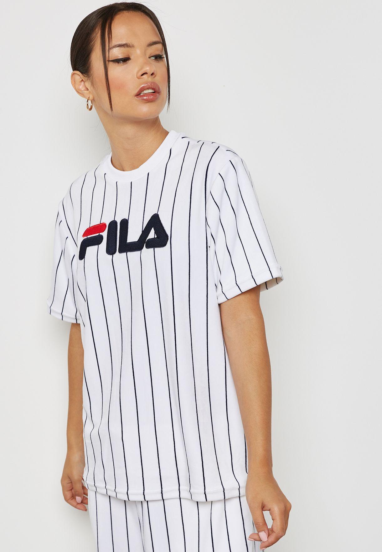 b08226dbfc3e Shop Fila white Tux Striped T-Shirt LW181K59 for Women in Saudi ...