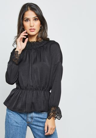 e47915d58e502d Shop Lost Ink black Ring Detail Bardot Top with Oversized Sleeves ...