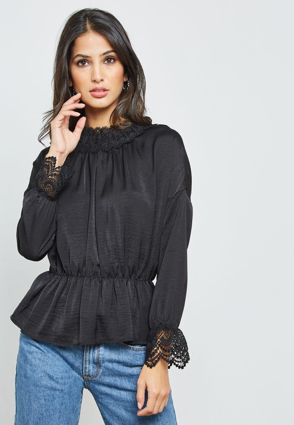 e8ba2881ad5f6d Shop Ella black Lace Trim Peplum Top 8338LT for Women in Saudi -  EL314AT22EVD