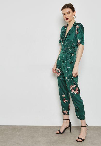 Floral Print Wrap Front Tie Jumpsuit