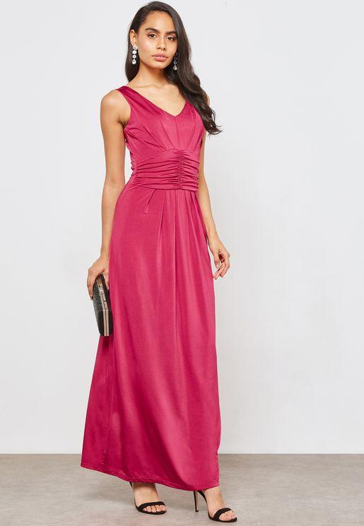 V-Neck Ruched Maxi Dress