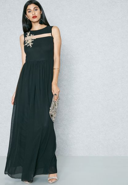 Sheer Paneled Embroidered Dress