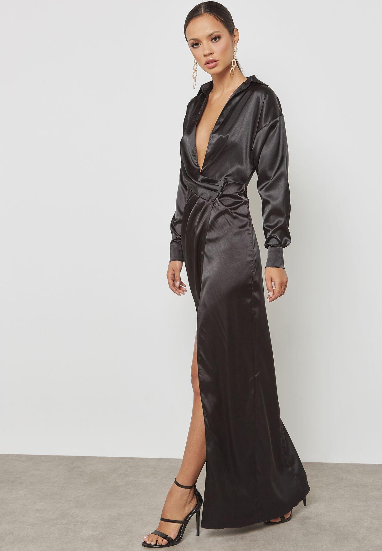 4b8cbb06b37a6 Shop Missguided black Satin Wrap Maxi Dress WSDE922042 for Women in ...