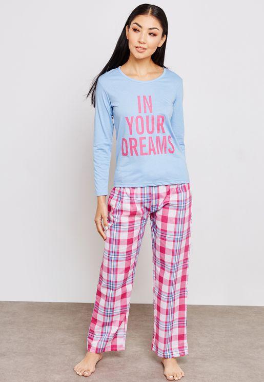 Statement Top Checked Pyjama Set