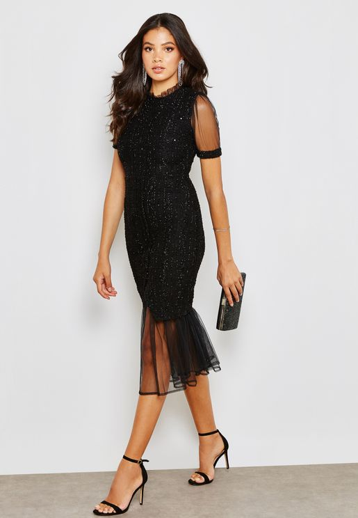 Sheer Sleeve Bodycon Midi Dress