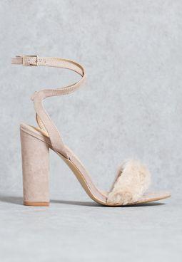 Fur trim sandal