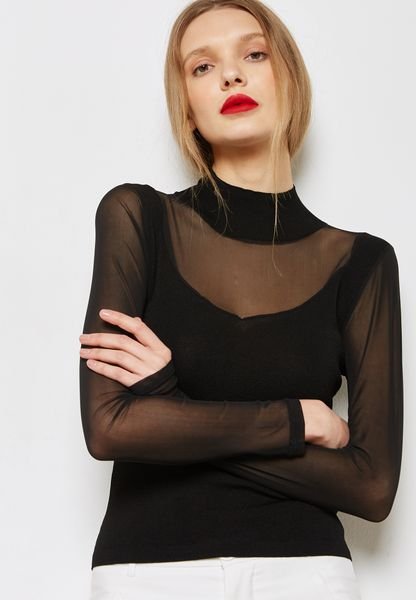 Contrast Mesh Detail Sweater
