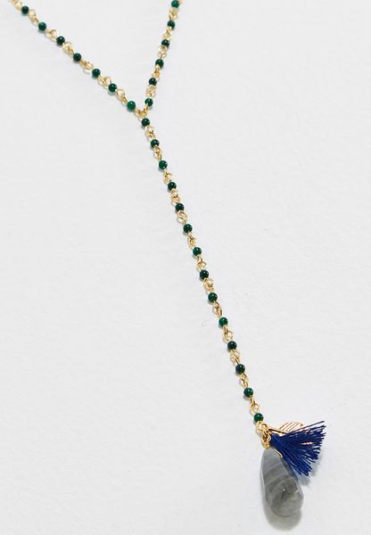 Long Bead & Link Lariat Necklace