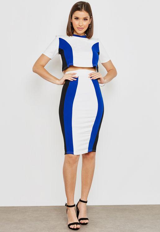 Coulourblock Crop Top Skirt Set