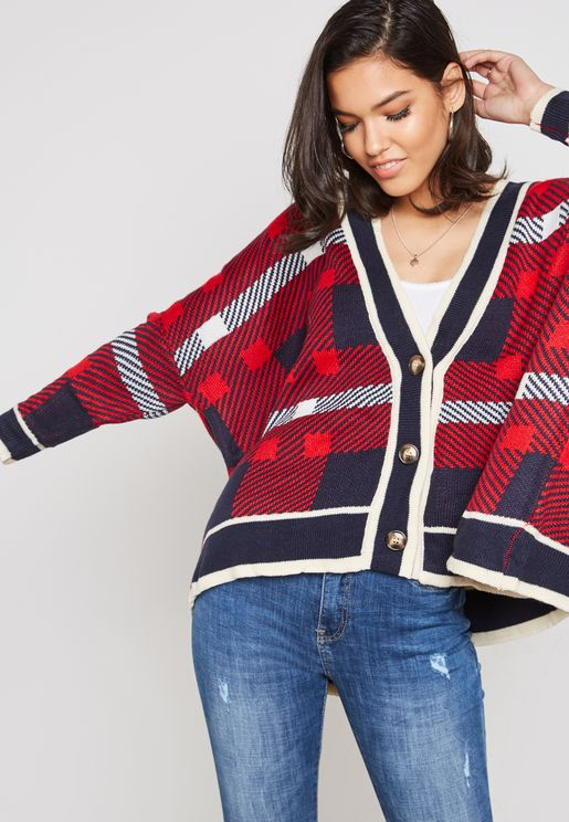 Checked Detail Oversized Cardigan