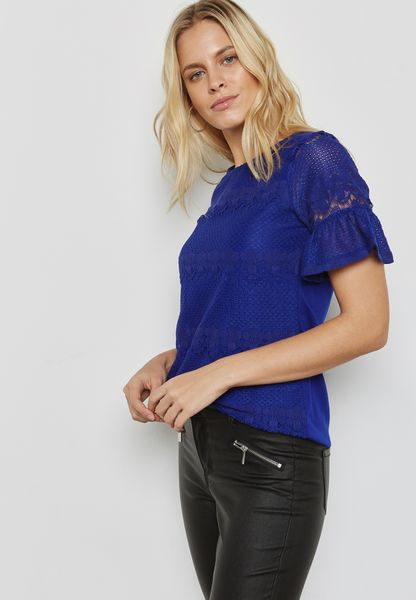 Flute Sleeve Lace T-Shirt