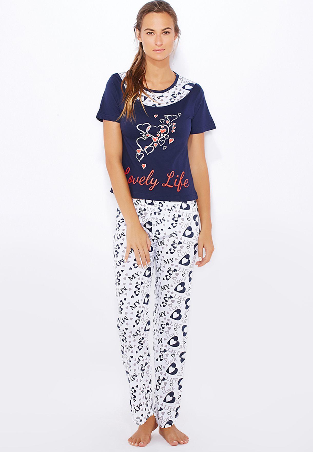 57a556205a980 Shop Elegance navy Pyjama Set for Women in Bahrain - EL775AT22KCJ