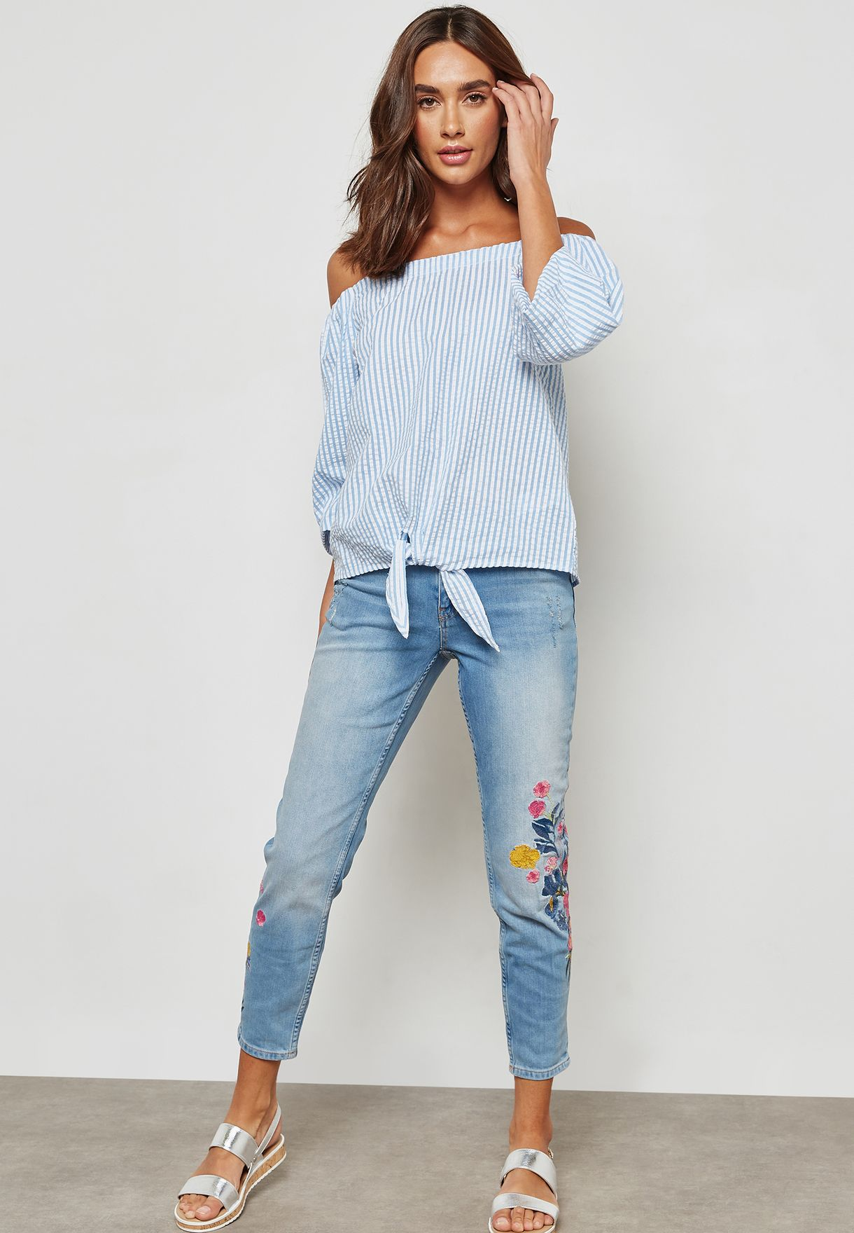 Tie Front Bardot Striped Top