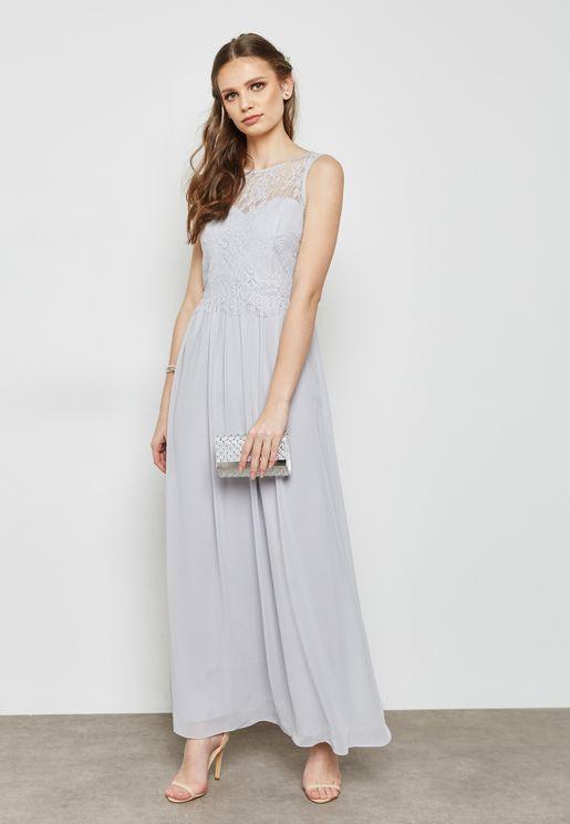Lace Detail Sleeveless Bridesmaid Maxi Dress