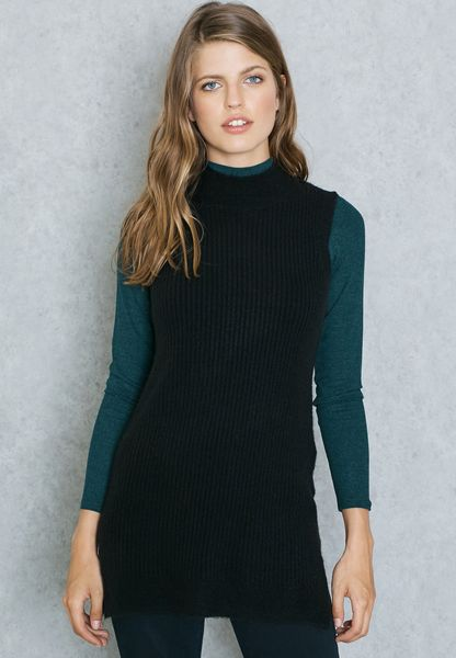 High Neck Ribbed Sleeveless Sweater