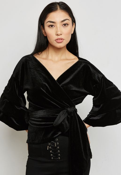 Puffed Sleeve Self Tie Velvet Top