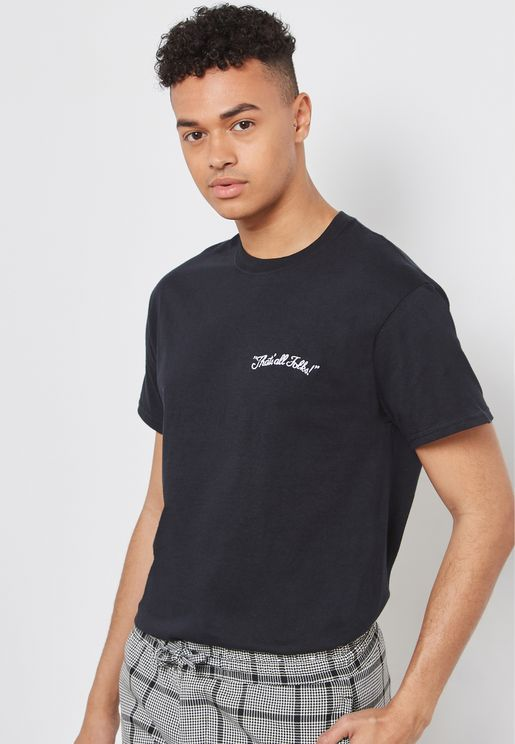 Thats All Folks Embroidered Crew Neck T-Shirt