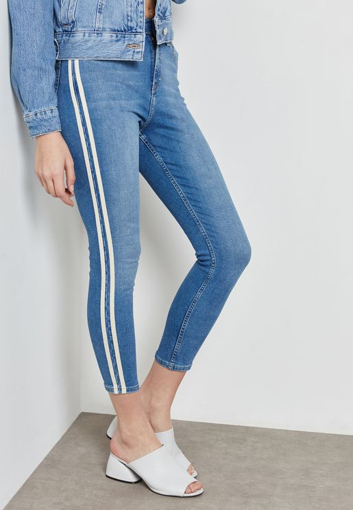 MOTO Jamie High Rise Skinny Jeans with Stripe Details