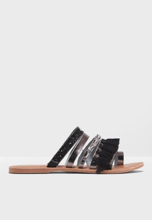 Multi Strap Tassel Sandals
